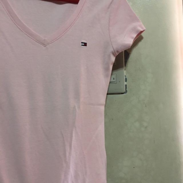 V Neck Baby Pink Shirt