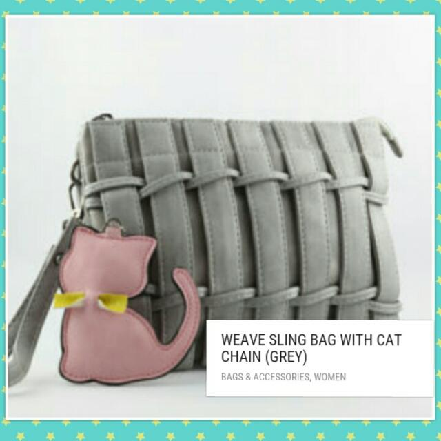 WEAVE SLING BAG WITH CAT CHAIN