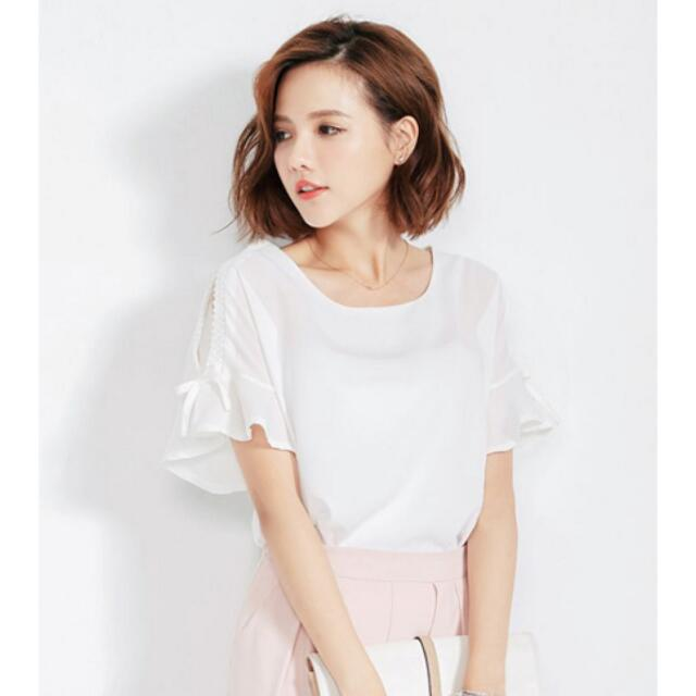 0e0a57fb8d1bab White Cold Cut Shoulder Top In M Size