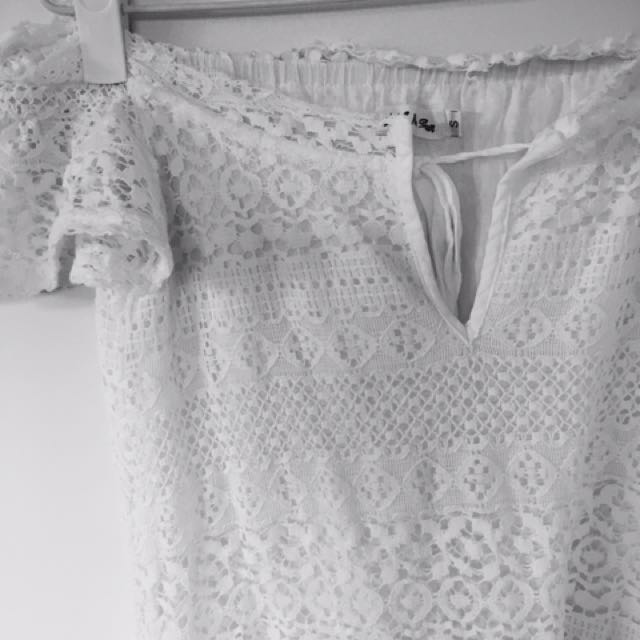 White Off The Shoulder Crotchet Dress