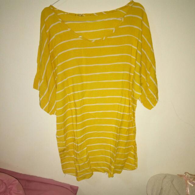 Yellow White Stripes Top