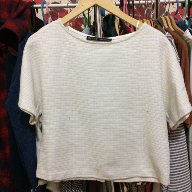 ZARA BASIC White Grain Top