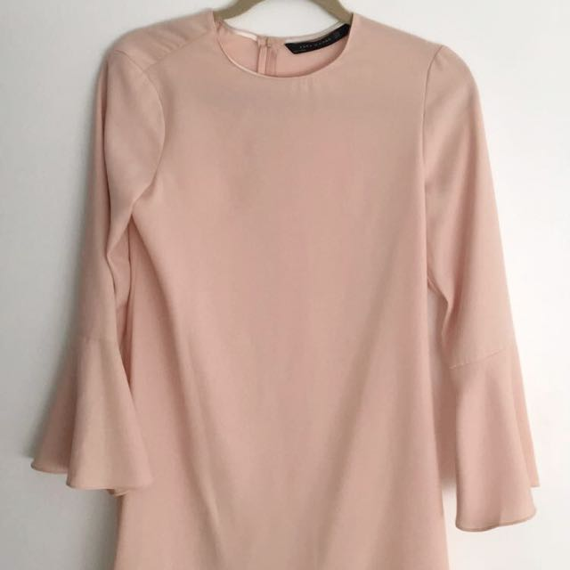 Zara Blush Bell Sleeve Dress