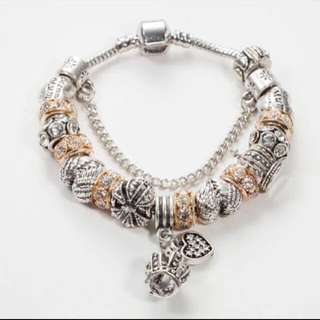 Charms with Bracelet set Silver Gold 19cm