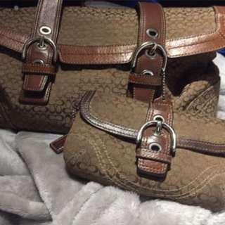 Coach Full size Handbag And Wristlet