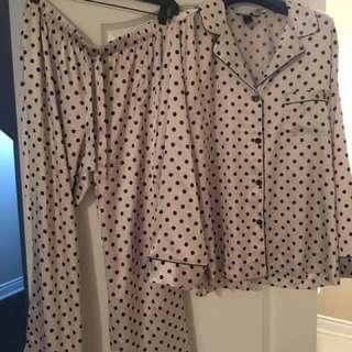 Victoria Secret Grey And Black Polka Dot Pajama Set