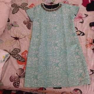 Batik Mini Dress Berkalung