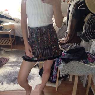 Tribal Print Lace Up Skirt