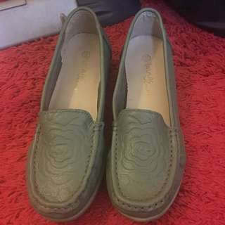 Brings Comfort Green Slip In Shoes