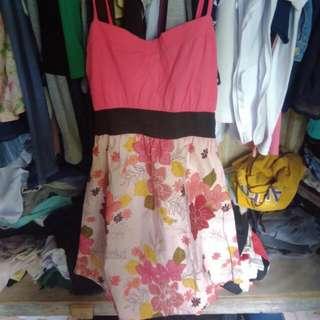 Pink With Floral Design Dress