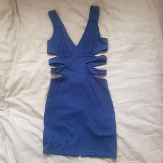 Cobalt Blue Dress With Sude Cut Outs