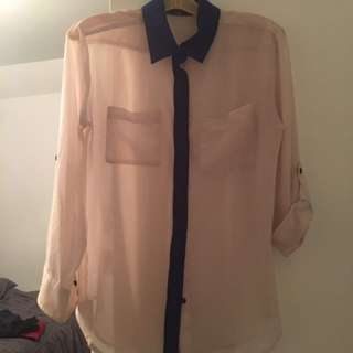 Collared Beige Long Sleeve Shirt