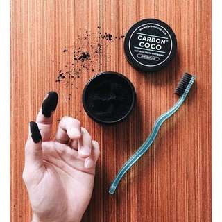 Activated Charcoal Tooth Polish + 1x Bamboo Bristle Toothbrush - Carbon Coco ** ONE Last Set Available