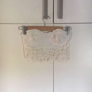 Alice in the Eve - white lace bustier crop