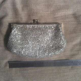 Silver Sequin Clutch W/ Metal Chain Strap