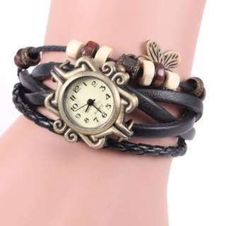 Vintage Style Watch with Butterfly Pendant and Knitting Leather Watch Band  -  BLACK