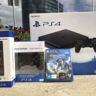 PlayStation 4 Console 1tb + 2 Controllers + Universal Remote + Horizon (Hard Copy) Bundle.