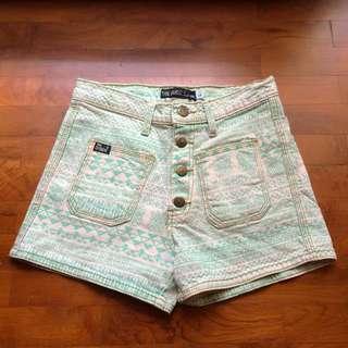 Tribal Print Denim Shorts
