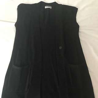 Black Giordano Sleeveless Cardigan Size Small