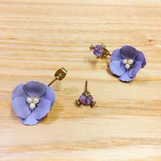 淡紫花花耳環