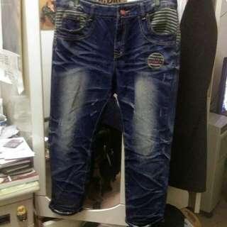 條紋飾邊 9分牛仔褲 大尺碼