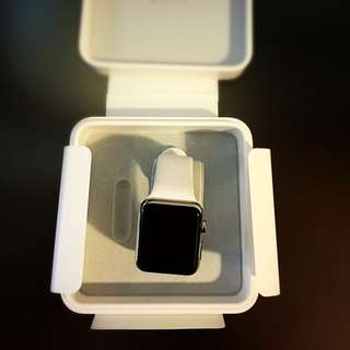 Apple WATCH 42mm Silver Stainless Steel Case White Band