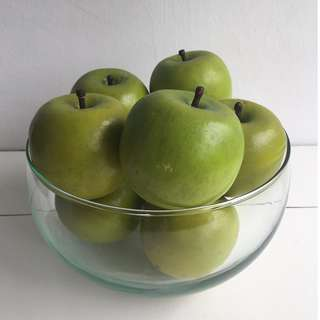 Glass Bowl of 8 Green Apples for Display - The Apples look so real!