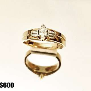 14k Gold Marquise Cut Diamond Engagement Ring