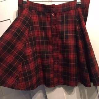 Brandy Melville High Waisted Plaid Skirt