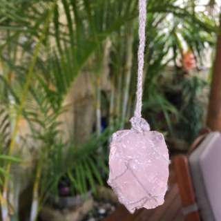 Handmade Rose Quartz Crystal Necklace Boho Style