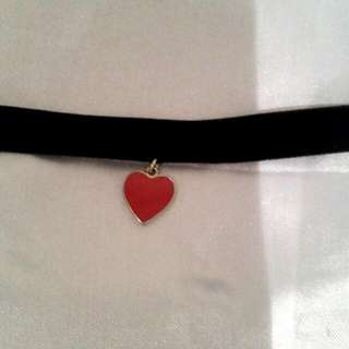 Black Velvet Choker With Heart
