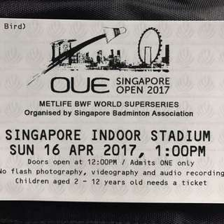 OUE SINGAPORE 2017 ONE FINAL TICKET