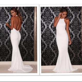 ABYSS BY ABBY COCO WHITE DRESS FORMAL GOWN