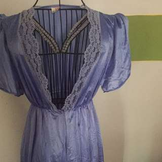 Vintage blue satin nightgown