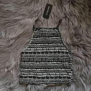 Glassons Black and White Print Cropped Singlet (S)