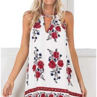Showpo White Red Floral Dress Size 8