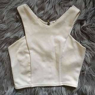 Missguided White Crop Singlet (XS-S)
