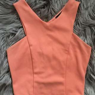 Missguided Peach Cropped Singlet (XS-S)
