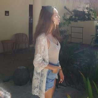 立體蕾絲緹花海邊罩衫