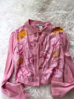 Vintage Celine Pink Silk Front Cardigan