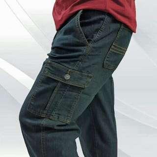 42~52腰 正統雙側袋 伸縮彈性牛仔褲 工作褲 長度可免費修改