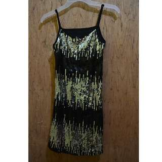 Black dress with sequence beads