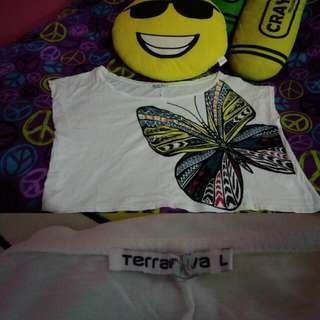 Terranova White Butterfly Loose Top
