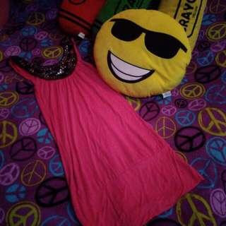 Pink Dress With Neckline Details