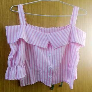 粉色條紋平口上衣