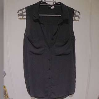 Forever 21 Black Semi See Through Short Sleeves Polo