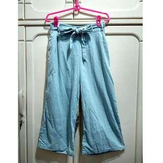 丹寧 寬管褲 寬褲 腰帶 鬆緊帶