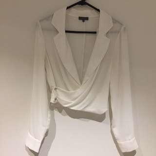 Sheike White Long Sleeve Blouse