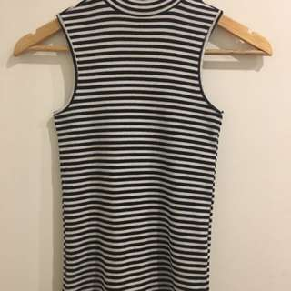 8 - Striped Ribbed High Neck Crop Tank Lily Loves