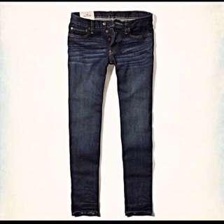 Hollister Men's Dark Wash Skinny Fit Button Fly Jeans